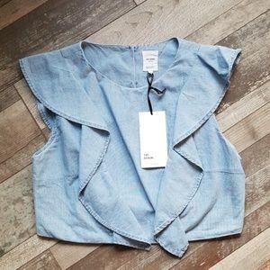 Zara TRF Denim button crop top medium